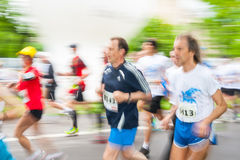 Cracovia Marathon. Runners on the city streets on May 18, 2014 in Krakow, POLAND Stock Photo
