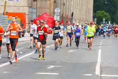 Cracovia Marathon. Runners on the city streets on May 18, 2014 in Krakow, POLAND Stock Images
