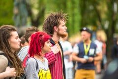 CRACOVIA - partecipanti di marzo per la liberazione della cannabis Immagine Stock Libera da Diritti