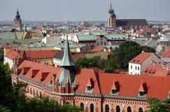 Cracovia, Polonia: Vista della città storica Immagine Stock Libera da Diritti