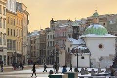 Cracovie - église de rue Adalbert - Grodzka - la Pologne Image stock