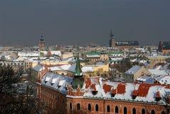 Cracovie dans l'hiver Images libres de droits