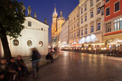 Cracow к ноча в Польше Стоковое Изображение
