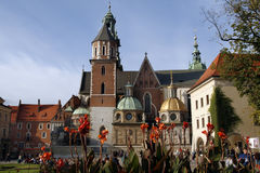 Cracow. Wawel Cathedral (The Cathedral Basilica of Sts. Stanislaw and Vaclav) - famous Polish landmark on the Wawel Hill in Cracow (Krakow Stock Photo