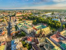 Cracow - aerial view. Landscape of old town with Franciscan Basilica and Wawel Castle. stock image