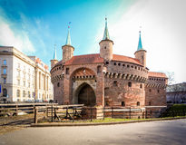 Cracow - Barbakan in the old square Stock Photography
