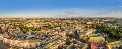 Cracow from the bird`s eye view. Panorama of the old town from Grodzka Street to Wawel Castle with the visible Franciscan Basilica Stock Photos