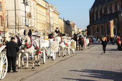 Cracow carriages Stock Photos