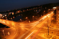 Cracow crossroad by night Royalty Free Stock Photography
