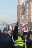 Cracow - a demonstração contra a fiscalização no Internet Imagem de Stock
