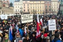 Cracow - a demonstração contra a fiscalização no Internet Imagens de Stock