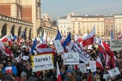 Cracow - a demonstração contra a fiscalização no Internet Fotos de Stock