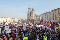 Cracow - a demonstração contra a fiscalização no Internet Imagem de Stock Royalty Free