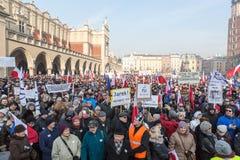 Cracow - a demonstração contra a fiscalização no Internet Foto de Stock Royalty Free