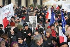 Cracow - a demonstração contra a fiscalização no Internet Fotos de Stock Royalty Free