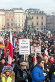 Cracow - the Demonstration against the surveillance on Internet Stock Photo