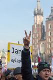 Cracow - the Demonstration against the surveillance on Internet Royalty Free Stock Photo
