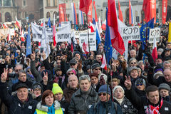 Cracow - the Demonstration against the surveillance on Internet Stock Image