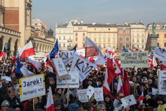 Cracow - the Demonstration against the surveillance on Internet Royalty Free Stock Photos