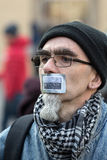 Cracow - the Demonstration against the surveillance on Internet Royalty Free Stock Images
