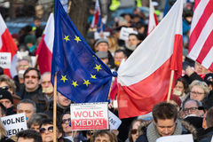 Cracow - The demonstration of the Committee of the Defence of Democracy KOD. CRACOW, POLAND - JANUARY 9, 2016: - The demonstration of the Committee of the stock image