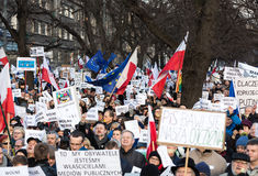 Cracow - The demonstration of the Committee of the Defence of Democracy KOD. CRACOW, POLAND - JANUARY 9, 2016: - The demonstration of the Committee of the royalty free stock photos