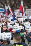 Cracow - The demonstration of the Committee of the Defence of Democracy KOD. CRACOW, POLAND - JANUARY 9, 2016: - The demonstration of the Committee of the royalty free stock image