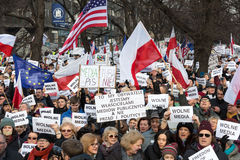 Cracow - The demonstration of the Committee of the Defence of Democracy KOD. CRACOW, POLAND - JANUARY 9, 2016: - The demonstration of the Committee of the stock photography