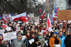 Cracow - The demonstration of the Committee of the Defence of Democracy KOD. CRACOW, POLAND - JANUARY 9, 2016: - The demonstration of the Committee of the stock photo
