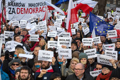 Cracow - The demonstration of the Committee of the Defence of Democracy KOD. CRACOW, POLAND - JANUARY 9, 2016: - The demonstration of the Committee of the stock photos