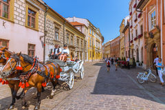 Cracow (Krakow) - excursão do transporte do cavalo do Polônia Imagens de Stock
