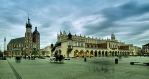 Cracow (Krakow) in Poland. The Main Market Square in Cracow  is the most important square of the Old Town in Cracow, Poland Royalty Free Stock Images