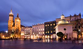 Cracow (Krakow) in Poland. The Main Market Square in Cracow  is the most important square of the Old Town in Cracow, Poland Stock Images