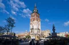 Cracow Krakow, Poland. KRAKOW, POLAND, MAY 2016. Gothic Town Hall Tower in historical city of Krakow, Poland Royalty Free Stock Photography