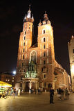 Cracow (Krakow, Poland) at night. Saint Maria church at the main square of Cracow (Krakow), Poland at night. UNESCO World Heritage site Stock Images