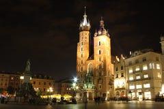 Cracow (Krakow, Poland) at night. Saint Maria church at the main square of Cracow (Krakow), Poland at night. UNESCO World Heritage site Royalty Free Stock Photo