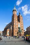 Cracow Krakow, Poland. Saint Maria church at the main square of Cracow Krakow Stock Images