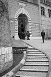 Cracow Krakow Poland, Wawel entrance. Black and white image of the entrance to the inner square of Wawel, Cracow Krakow Poland Royalty Free Stock Image