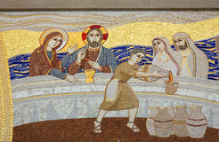 Cracow , Lagiewniki - The centre of Pope John Paul II. The miracle in Galilean Cana - the mosaic on the church wall Royalty Free Stock Photography
