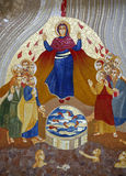 Cracow , Lagiewniki - The centre of Pope John Paul II. Mosaics on the church wall with biblical scenes Stock Photos