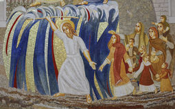 Cracow , Lagiewniki - The centre of Pope John Paul II. Mosaics on the church wall with biblical scenes Stock Image