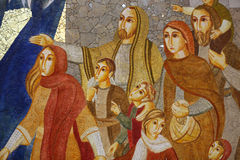 Cracow , Lagiewniki - The centre of Pope John Paul II. Mosaics on the church wall with biblical scenes Stock Photography