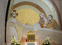 Cracow , Lagiewniki - The centre of Pope John Paul II. Mosaics on the church wall with biblical scenes Royalty Free Stock Images