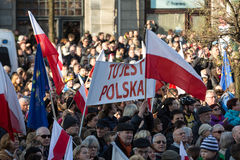 Cracow, Main Square -  The demonstration of the Committee of  Defence of Democracy against the break of law through the government Stock Photos