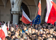 Cracow, Main Square -  The demonstration of the Committee of  Defence of Democracy against the break of law through the government Stock Images
