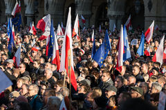 Cracow, Main Square -  The demonstration of the Committee of  Defence of Democracy against the break of law through the government Stock Image