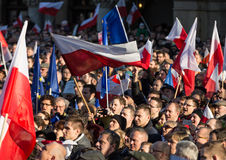 Cracow, Main Square -  The demonstration of the Committee of  Defence of Democracy against the break of law through the government Royalty Free Stock Image