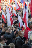 Cracow, Main Square -  The demonstration of the Committee of  Defence of Democracy against the break of law through the government Stock Photography