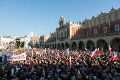 Cracow, Main Square -  The demonstration of the Committee of  Defence of Democracy against the break of law through the government Stock Photo