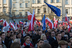 Cracow, Main Square -  The demonstration of the Committee of  Defence of Democracy against the break of law through the government Royalty Free Stock Photography